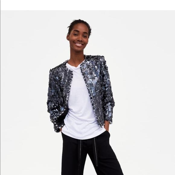 1b31c747 Zara Jackets & Coats | New W Tags Sequin Tweed Jacket Size L | Poshmark